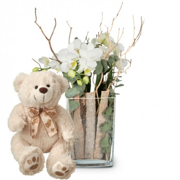 Lifestyle (orchid in a vase) with teddy bear (white)