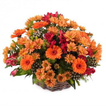 Basket arrangement of mixed flowers