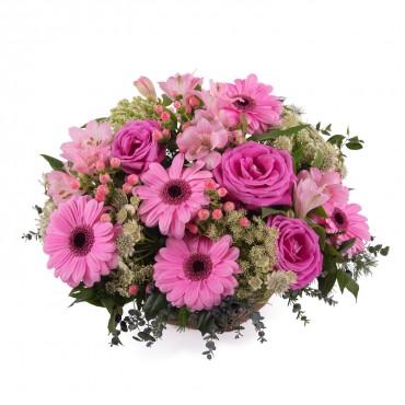Basket of Pink Gerbera Daisies