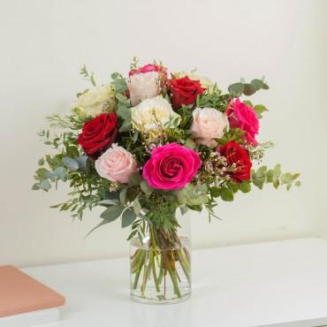15 Short-stemmed Multicoloured Roses