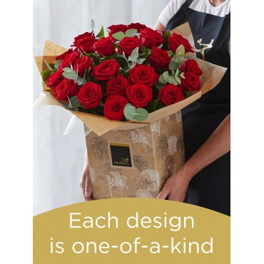 24 RED ROSE HAND-TIED